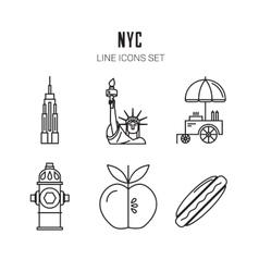 New York City Line icons set vector image