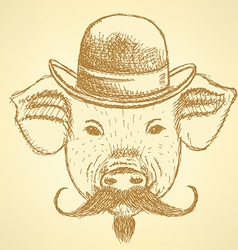 Sketch pig in hat with mustche ackground vector image vector image
