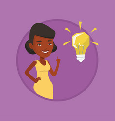 student pointing at idea bulb vector image vector image