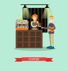 coffee concept in flat style vector image