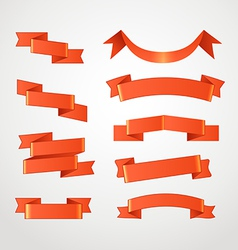 Different retro style red ribbons set vector image vector image