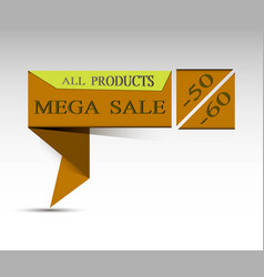Mega sale message on the brown line vector