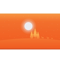 Orange backrgounds deer and spruce Christmas vector image vector image