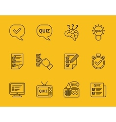 Set of line quiz icons vector image