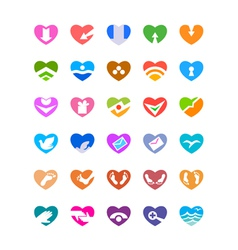 web and computing icons as hearts vector image vector image