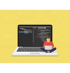 Young programmer coding a new project vector image vector image