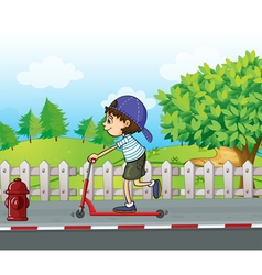 A boy and his scooter at the road vector image