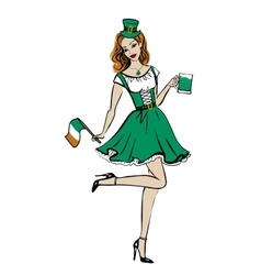 woman in St Patricks day costume vector image
