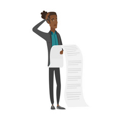 young african accountant holding a long bill vector image