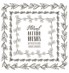 floral pattern brushes with branches vector image