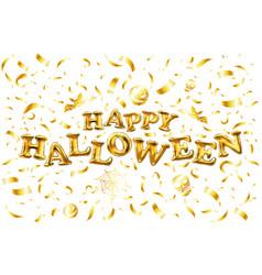 happy halloween gold glitter balloon lettering on vector image