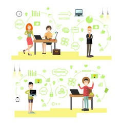 set of creative team people in flat style vector image
