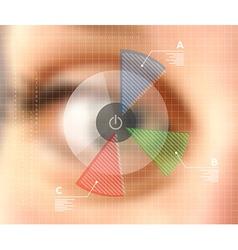 Virtual screen eye infographics blurred effect vector image