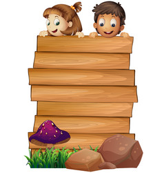 wooden board template with boy and girl vector image vector image