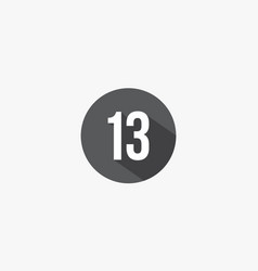 13 number with shadow isolated on white background vector