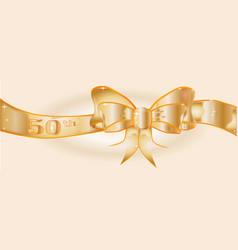 50th golden ribbon vector
