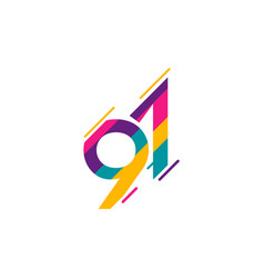91 years anniversary celebration logo template vector
