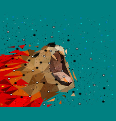 abstract of low poly lion with point connecting vector image
