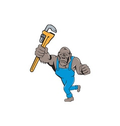 Angry Gorilla Plumber Monkey Wrench Isolated vector image vector image