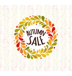 Autumn foliage wreath poster seasonal sale label vector