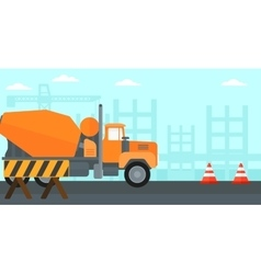 Background of concrete mixer on construction site vector