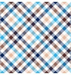 Blue beige diagonal check shirt seamless fabric vector