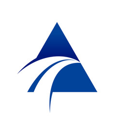 blue swoosh cross unique triangle symbol logo vector image