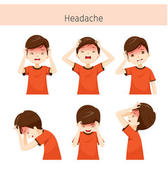 Boy with different headache actions vector
