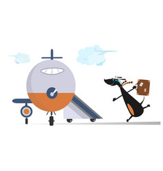 Cartoon dog in the airport vector