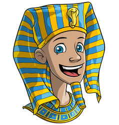cartoon smiling egyptian pharaoh boy vector image