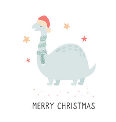 Christmas dino in scarf and santa hat vector