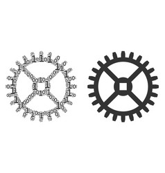 clock gear collage of binary digits vector image