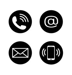 contact icons in flat style vector image