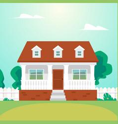 Cozy residential suburban house with garden a vector