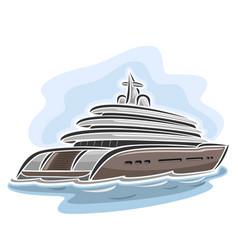 Cruising large mega yacht vector