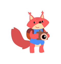 Cute squirrel with backpack and camera animal vector