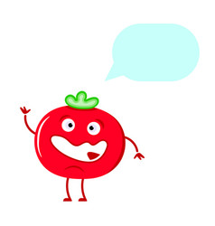 cute tomato thinking isolated on white background vector image