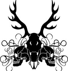 Deer skull and human skull composition vector image