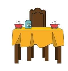 Dinner table with yellow tablecloth vector