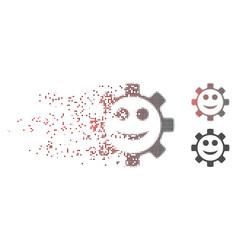 Disintegrating pixel halftone gear smile smiley vector