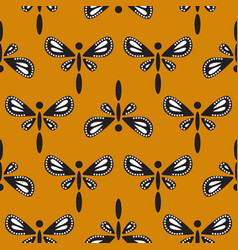 Dragonfly bold pattern on mustard yellow seamless vector