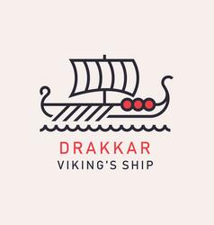 Drakkar viking ship vector