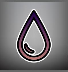 drop of water sign violet gradient icon vector image