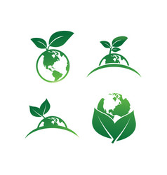 earth leaf logo design template vector image