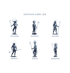Egyptian gods set of emblems vector