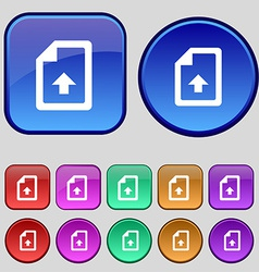 Export Upload file icon sign A set of twelve vector