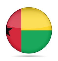 Flag of guinea-bissau shiny round button vector