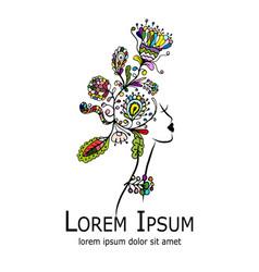 floral female portrait logo for your design vector image