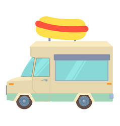 Food truck with hot dog icon cartoon style vector