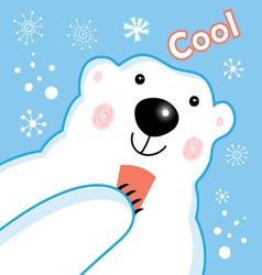 Funny portrait of a polar bear vector